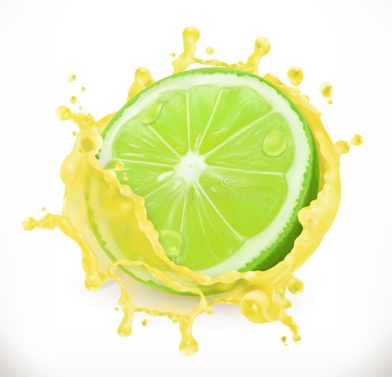Limefruktfruktsaft Ny frukt, vektorsymbol royaltyfri illustrationer