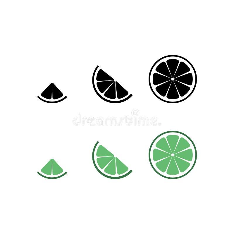 Limefruktlogo Isolerad limefrukt p? vitbakgrund 10 eps ocks? vektor f?r coreldrawillustration Den svarta limefruktkonturn och grö vektor illustrationer