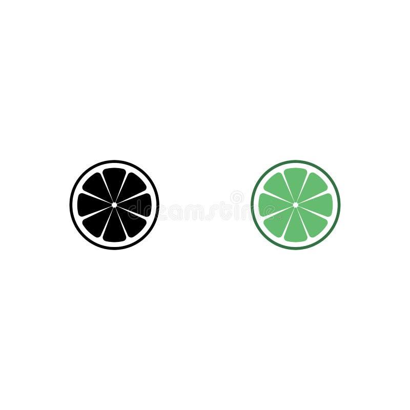 Limefruktlogo Isolerad limefrukt p? vitbakgrund 10 eps ocks? vektor f?r coreldrawillustration Svart och grön limefruktkontur St?l royaltyfri illustrationer