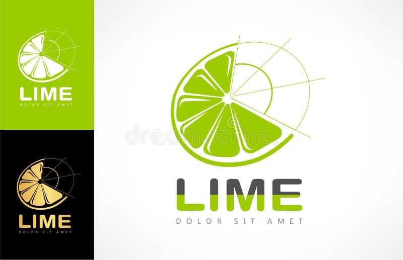 Limefruktlogovektor vektor illustrationer