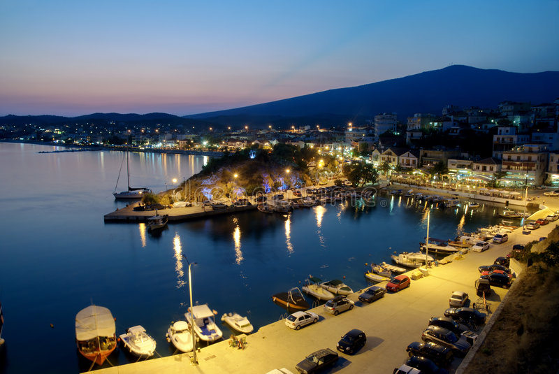 Limenaria,Thassos. Port in Limenaria, island Thassos Greece, in early evening royalty free stock photo