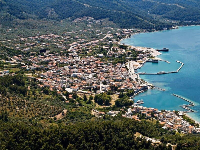 Limenas, Thassos, aerial. Limenas, Thassos, Greece, aerial view royalty free stock photos