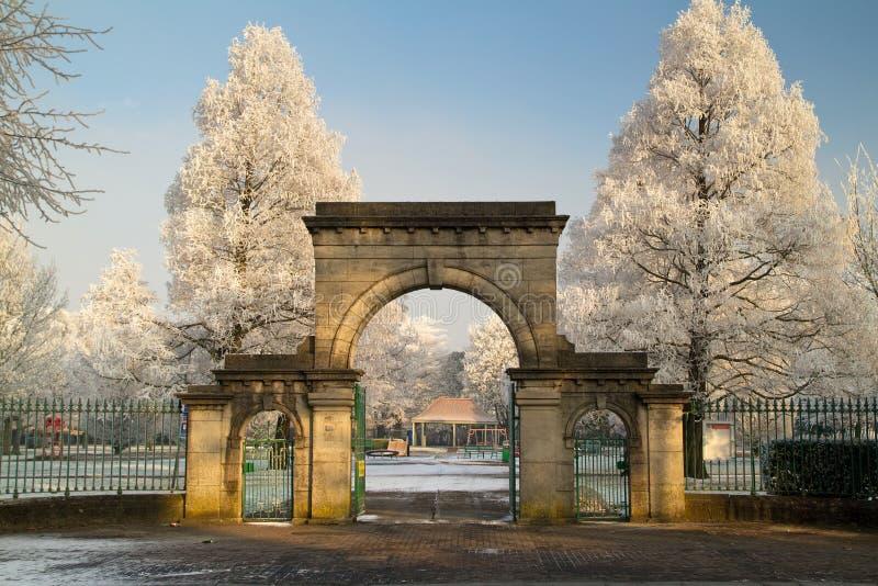 Limerick city park. Frozen park in Limerick city stock photos