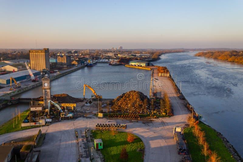 Limerick dock in Shannon river stock image