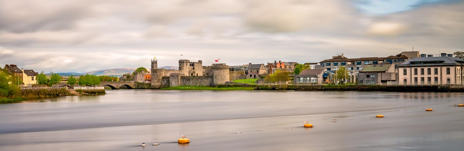 Limerick town panorama. View of the Shannon river and the King Johns Castle, Limerick, Ireland stock photography