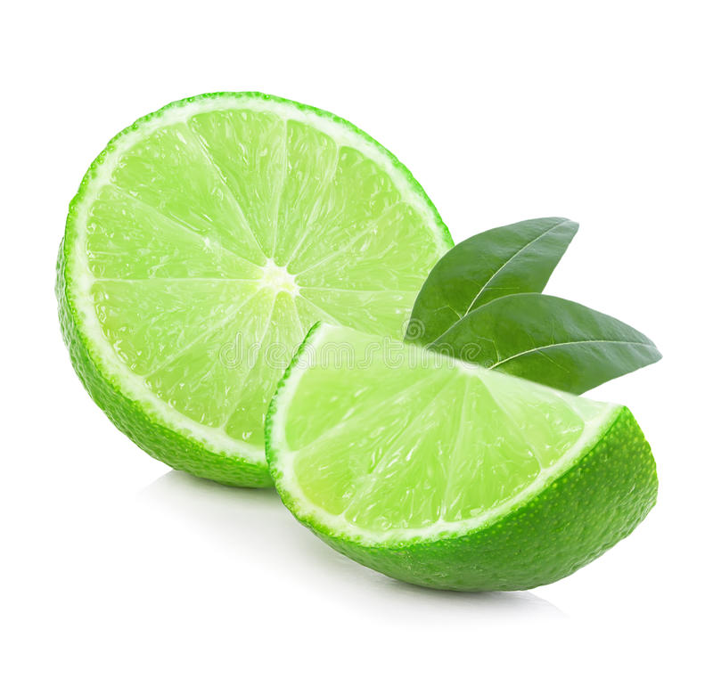 Limes close-up isolated. On a white backgroundn royalty free stock images