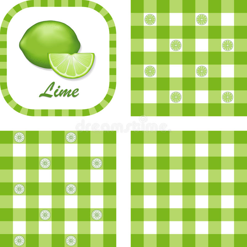 Download Limes & Gingham Seamless Patterns Stock Vector - Illustration: 20305964