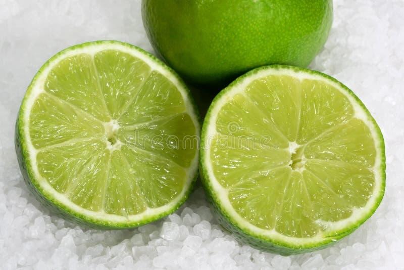 Limes on Sea Salt royalty free stock image