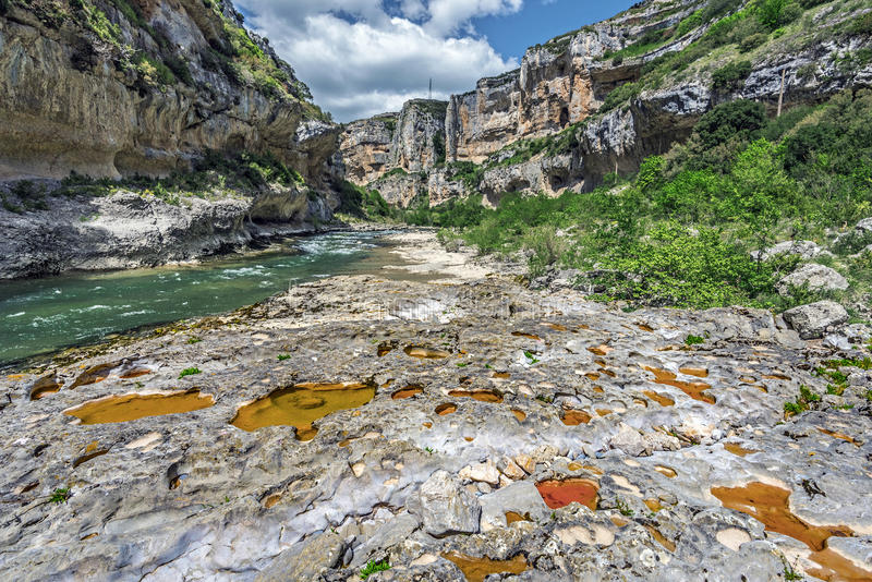 Limestone background eroded by Irati River flow in Lumbier Canyon stock image
