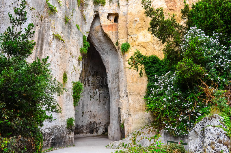 Limestone cave called Ear of Dionysius on Sicily royalty free stock image