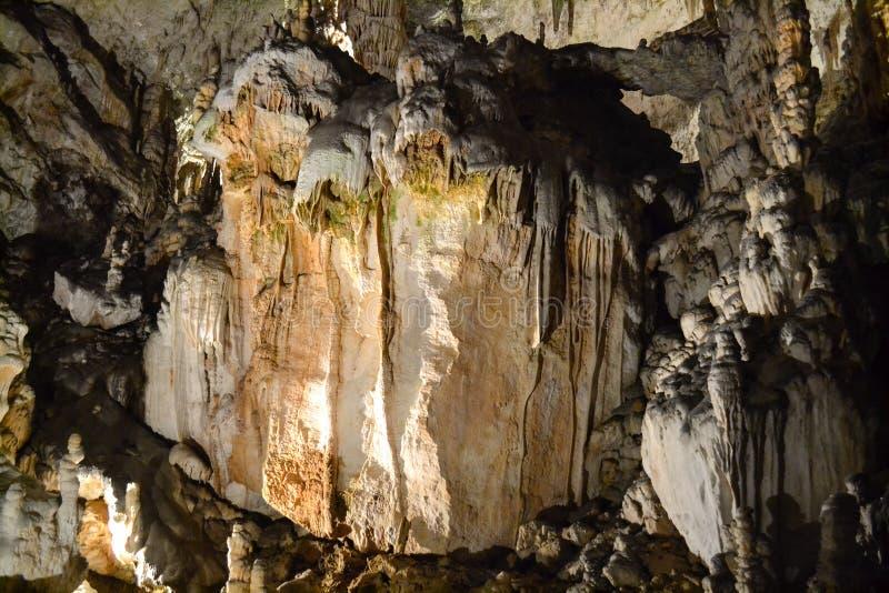 Limestone cave in Postojna. Amazing stalactites and stalagmites in Postojna Cave (Slovene: Postojnska jama; : is a 24,120 m long karst cave system near Postojna stock image
