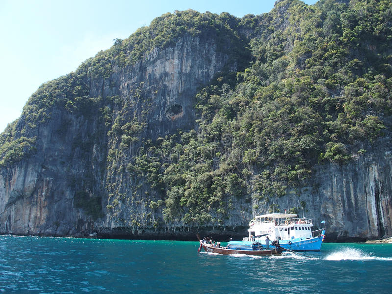 Limestone cliffs at the Koh Phi Phi Ley island, Thailand stock image