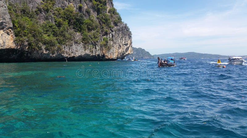 Limestone cliffs at the Koh Phi Phi Ley island, Thailand stock images