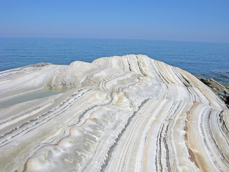 Limestone. On coastline of Euboea island, Greece stock photos