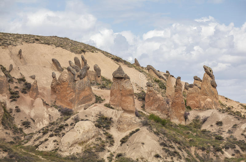 Limestone formations in Cappadocia, Turkey royalty free stock photography