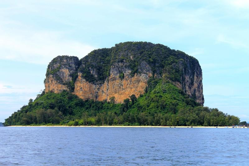 Limestone island of Thailand. With no houses, just sandy beach stock images