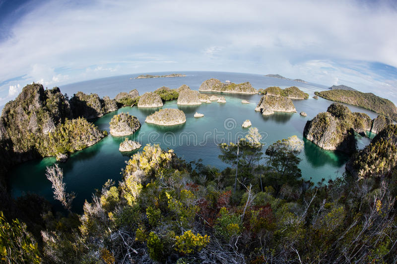 Limestone Islands and Tropical Lagoon in Raja Ampat. Limestone islands surround a beautiful lagoon in Raja Ampat, Indonesia. This tropical region is known for royalty free stock photos
