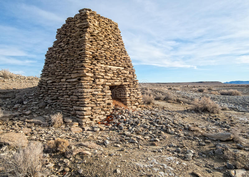 Limestone kiln in Northern Nevada. Historic Limestone kiln, Northern Nevada desert royalty free stock image