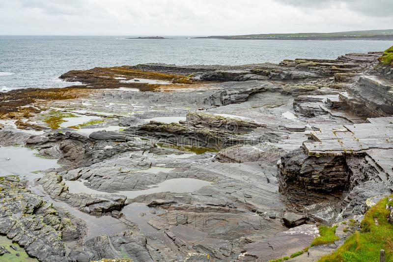 Limestone landscape on the coast in the coastal walk route from Doolin to the Cliffs of Moher. Geosites and geopark, Wild Atlantic Way, rainy day in county royalty free stock photos