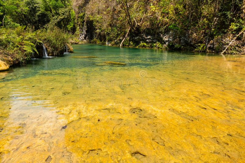 Limestone ridge with cascades and waterfalls of Semuc Champey in the Peten jungle and rainforest of Guatemala stock photo