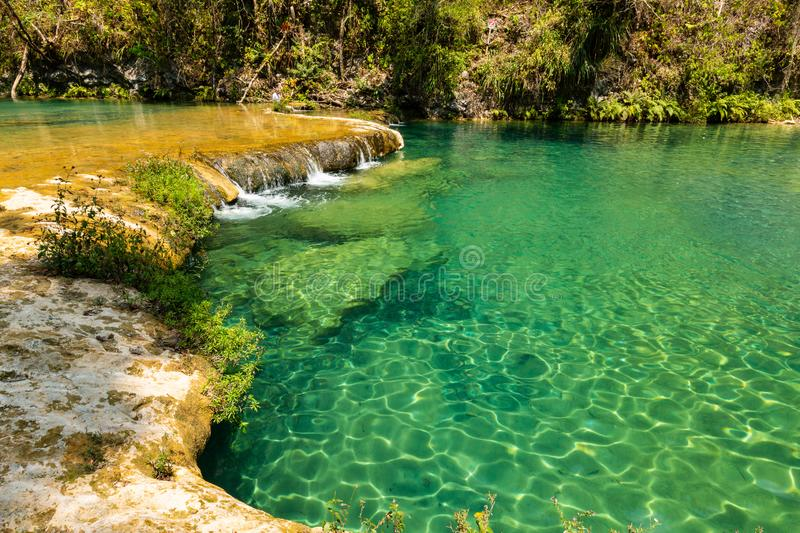 Limestone ridge with cascades and waterfalls of Semuc Champey in the Peten jungle and rainforest of Guatemala royalty free stock photos