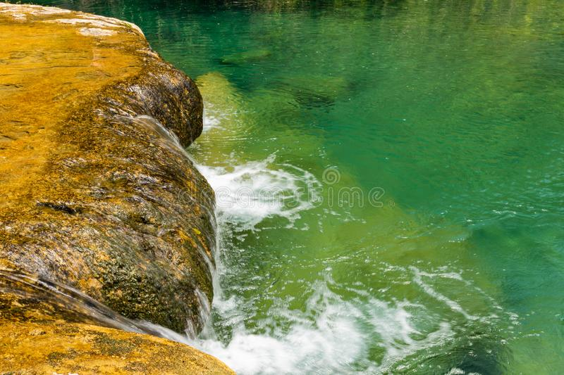 Limestone ridge with cascades and waterfalls of Semuc Champey in the Peten jungle and rainforest of Guatemala stock image
