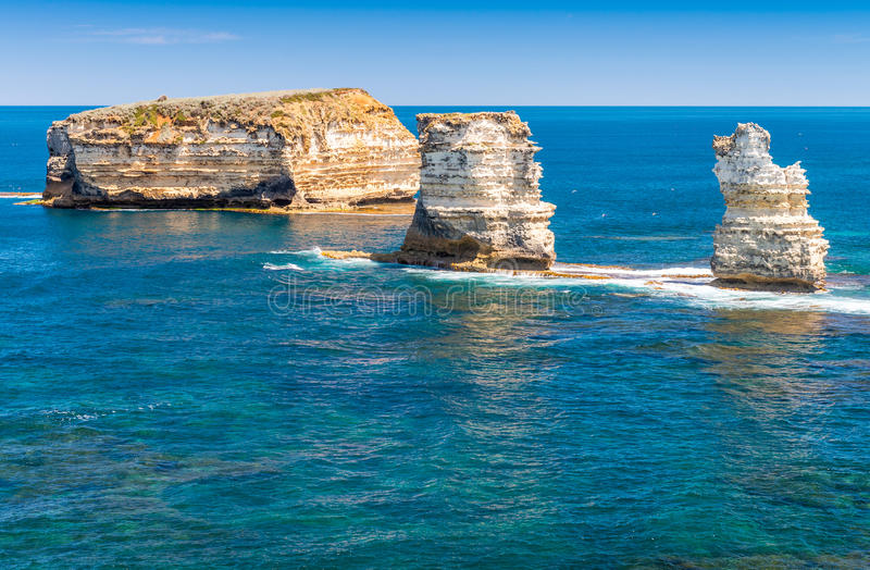 Limestone rocks over the ocean, Great Ocean Road, Australia royalty free stock photography