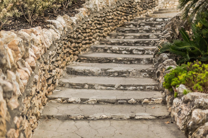 Limestone staircase stock image