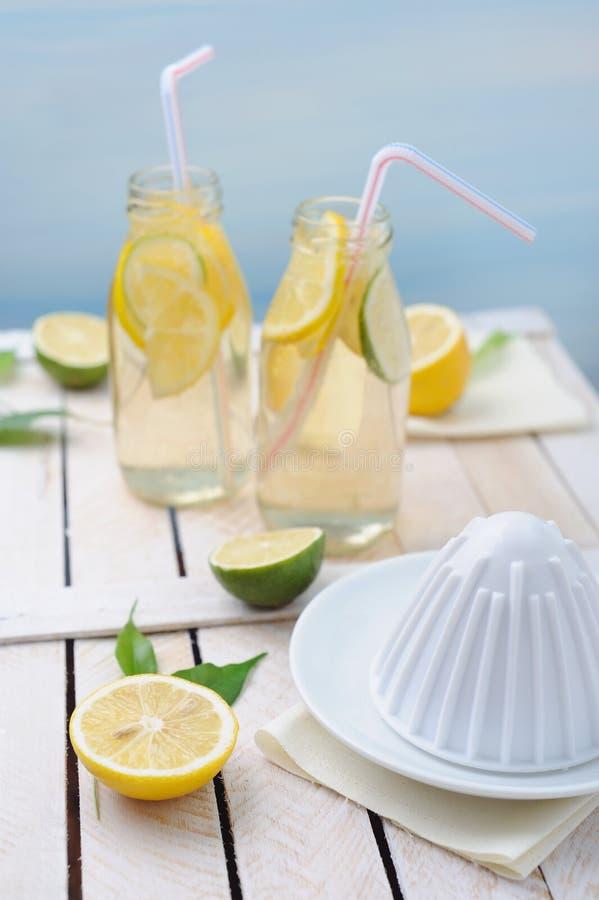 Limetta e limone fresco, spremitoio e due vetri di limonata sulla tavola fotografia stock