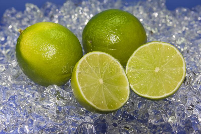 Green Lime on ice. Halfed green fresh lime on cold ice with blue royalty free stock images
