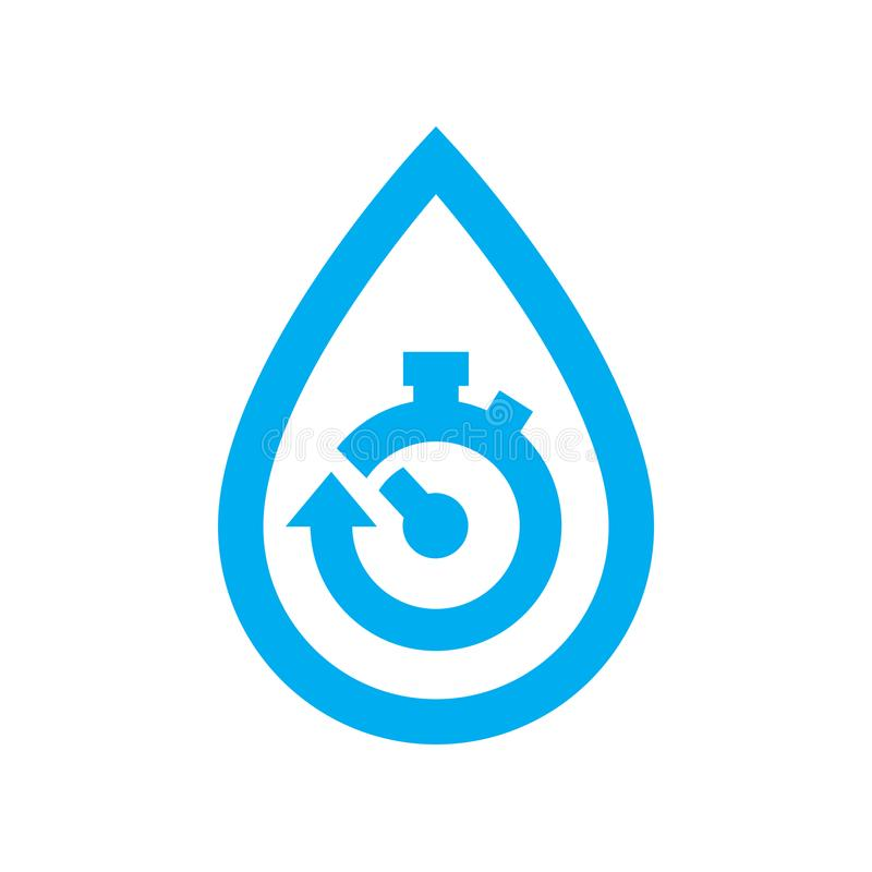 Limit water use icon. Blue stopwatch in water drop symbol vector illustration