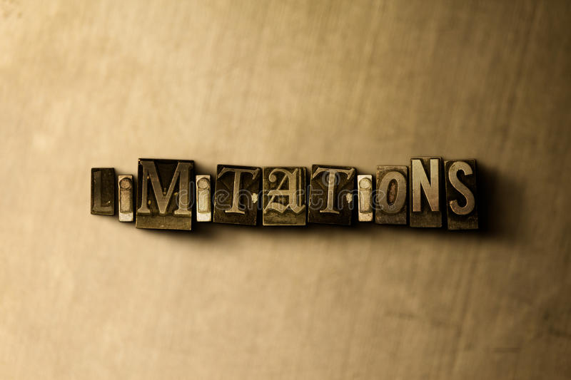 LIMITATIONS - close-up of grungy vintage typeset word on metal backdrop stock illustration