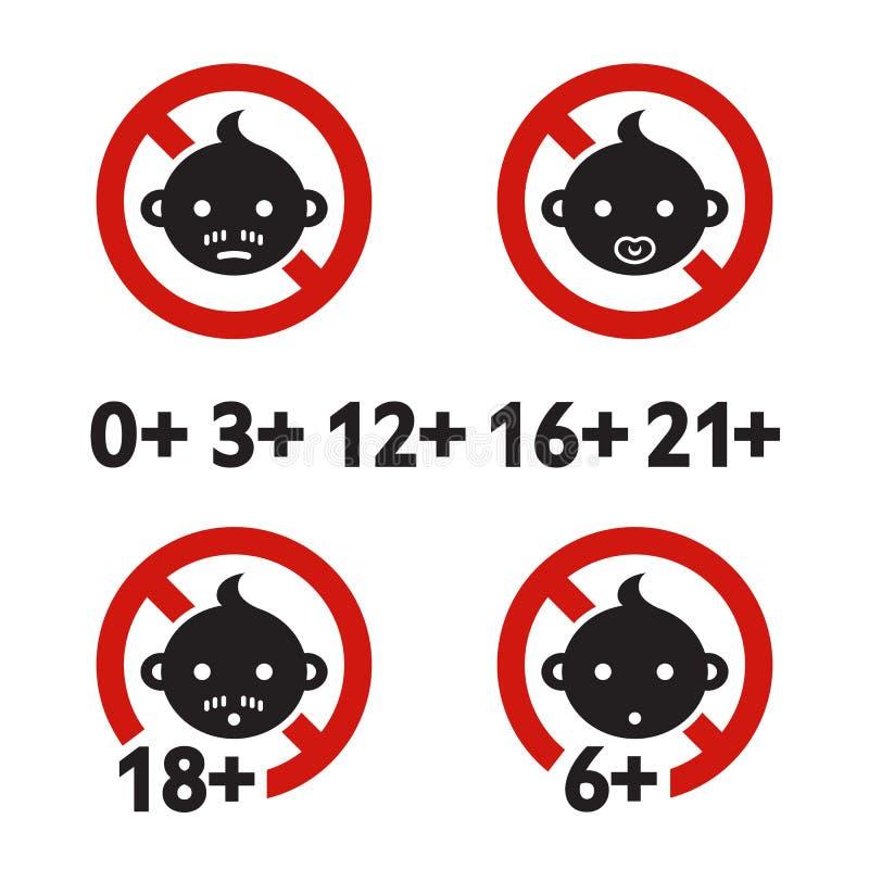Limite d'âge de panneau d'avertissement illustration de vecteur