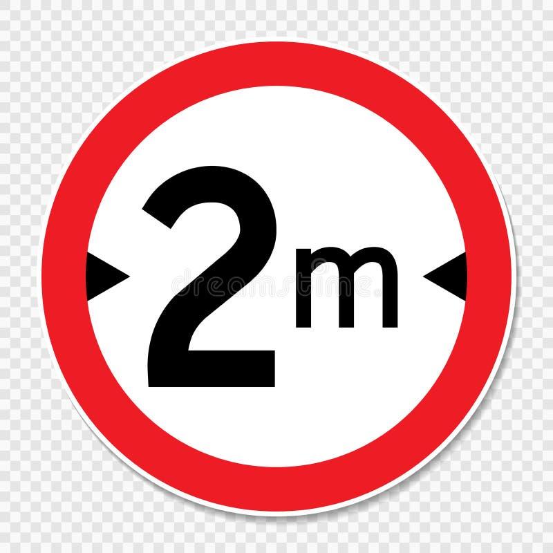 Limite de largeur de symbole 2 m connectez-vous le fond transparent illustration de vecteur