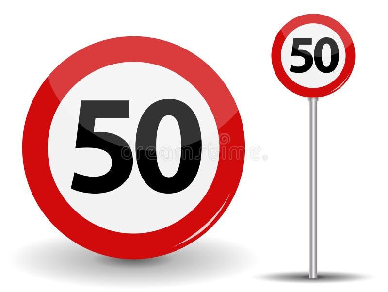 Limite de velocidade vermelho redondo do sinal de estrada 50 quilômetros pela hora Ilustração do vetor ilustração stock
