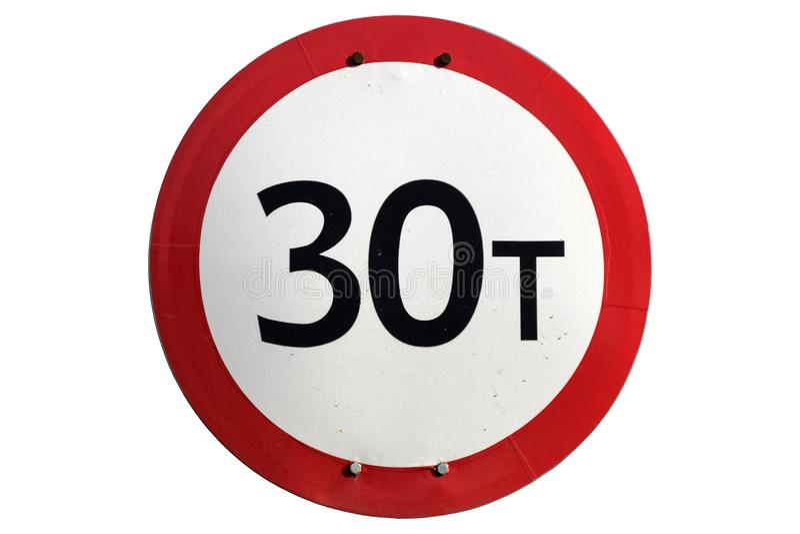 Limite do peso 30 toneladas de sinal de estrada isolado no branco ilustração royalty free