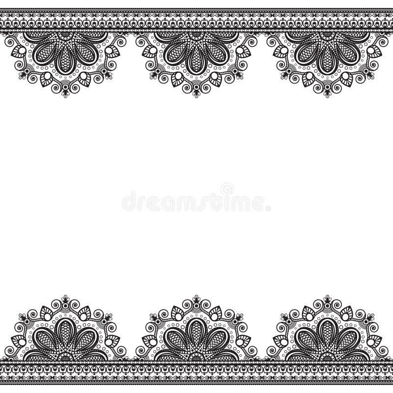 Limite elementos do teste padrão com as flores no estilo indiano do mehndi para o cartão e na tatuagem isolada no fundo branco ilustração royalty free