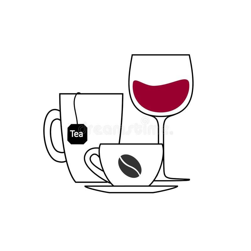 Limite la toma de la comida y de las bebidas coloreadas oscuridad durante blanquear las etapas, montante del esquema, vector cuad ilustración del vector