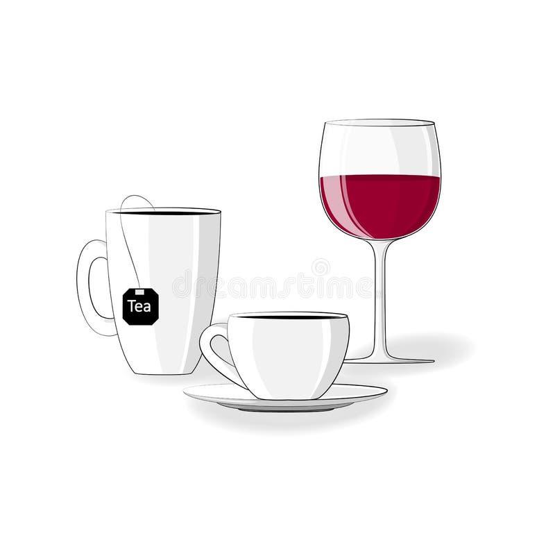 Limite la toma de la comida y de las bebidas coloreadas oscuridad durante blanquear las etapas, montante realista, vector cuadrad stock de ilustración