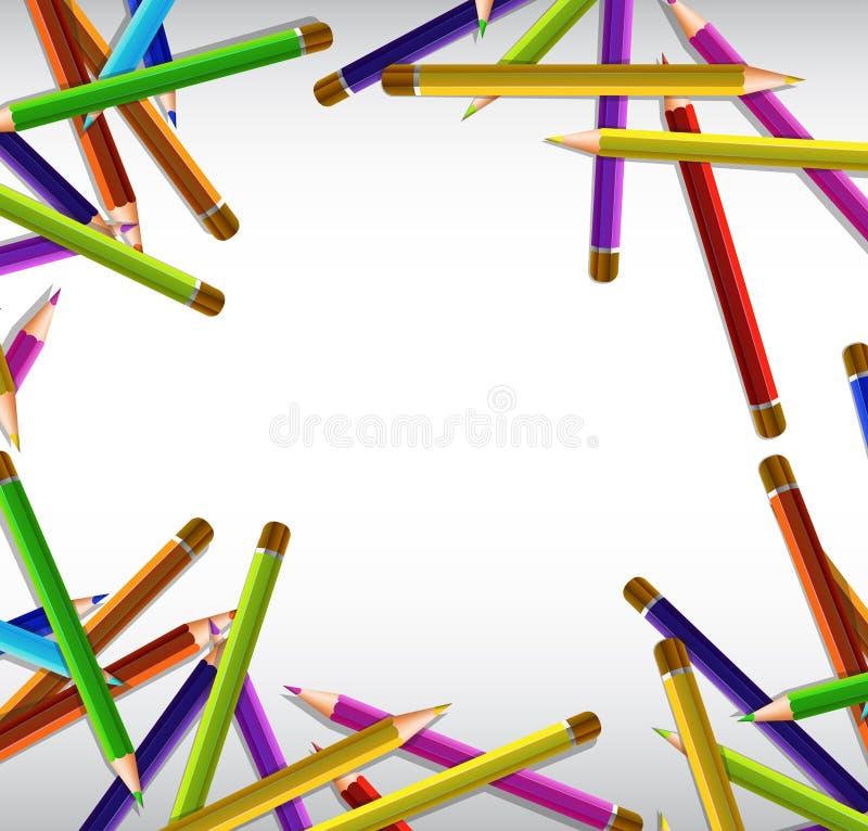 Limite o projeto com os lápis afiados da cor em muitas cores ilustração stock