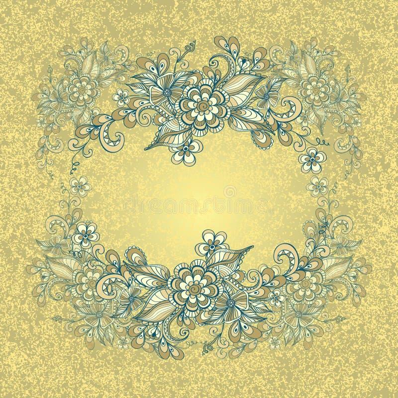 Limite o quadro com flores da garatuja e o efeito do grunge no azul marinho bege ilustração do vetor
