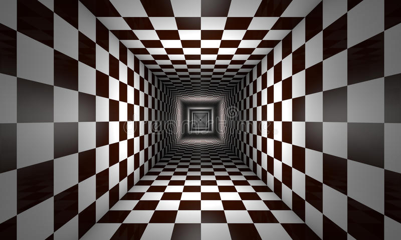 Limited consciousness (chess metaphor). Infinity. Chess tunnel. The space and time. Available in high-resolution and several sizes to fit the needs of your royalty free illustration