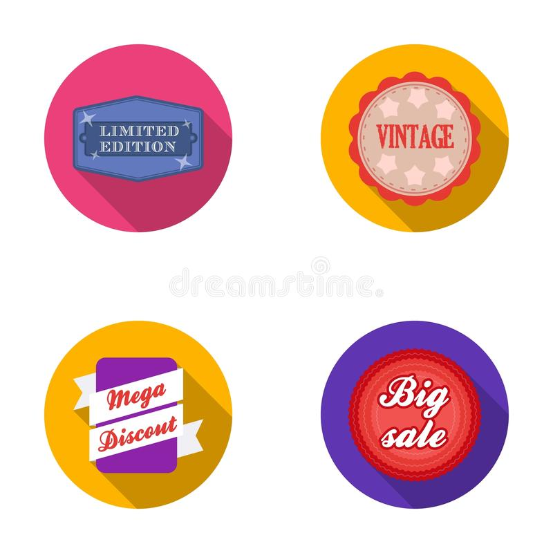 Limited edition, vintage, mega discont, dig sale.Label,set collection icons in flat style vector symbol stock stock illustration
