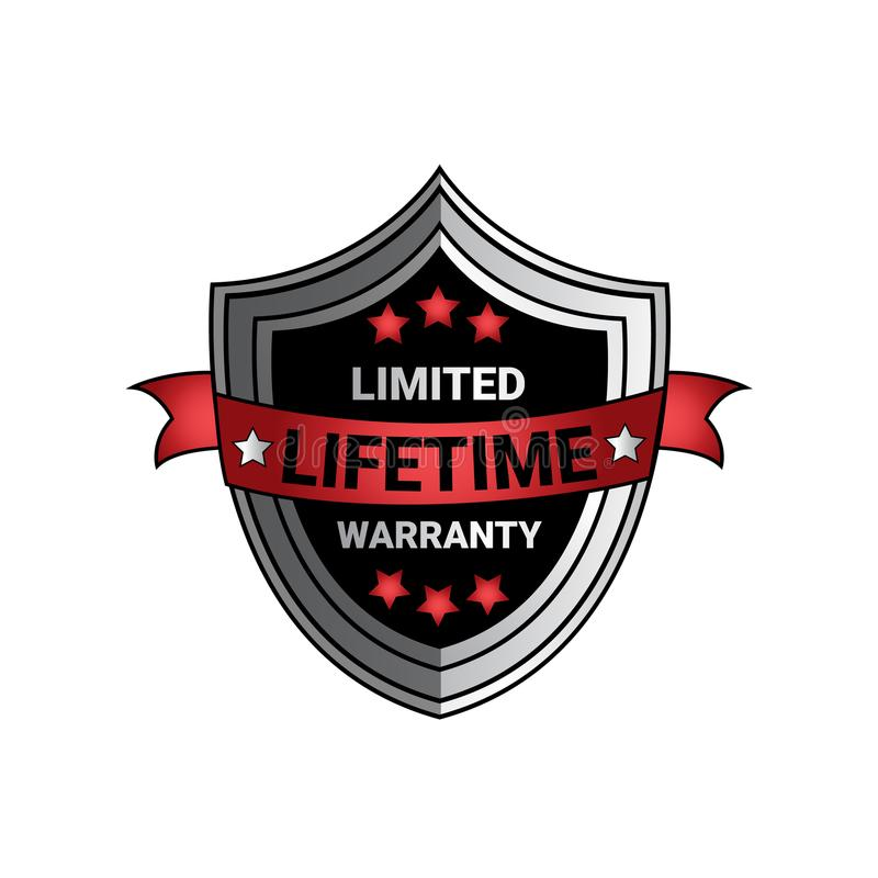 Limited Lifetime Warranty Sign Silver Shield Seal Isolated. Vector Illustration vector illustration