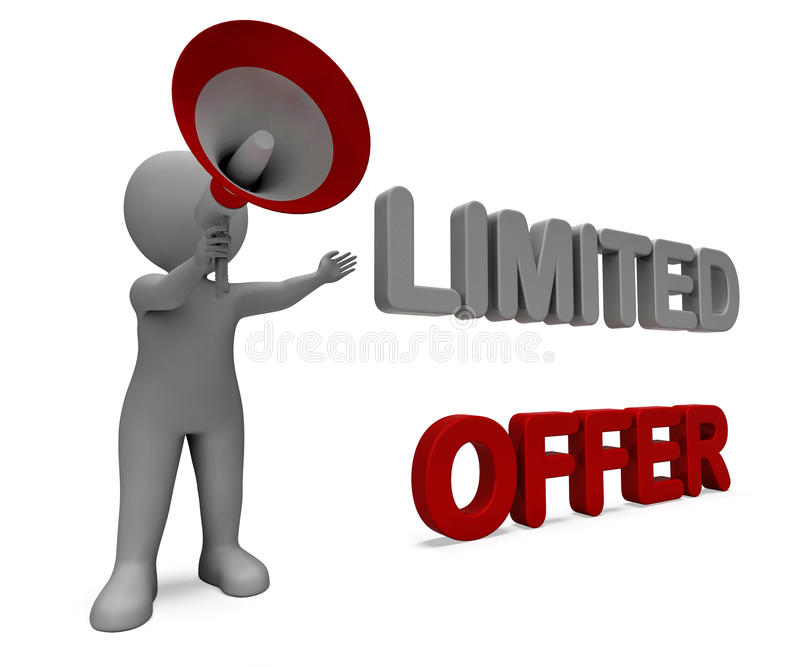 Limited Offer Character Shows Deadline Offers royalty free illustration