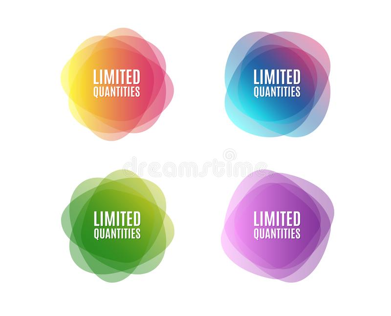 Limited quantities symbol. Special offer sign. Sale. Colorful round banners. Overlay colors shapes. Abstract design concept. Vector stock illustration