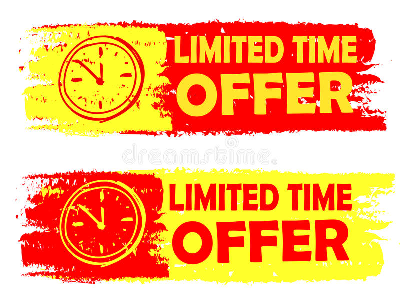 Limited time offer with clock sign, yellow and red drawn labels vector illustration