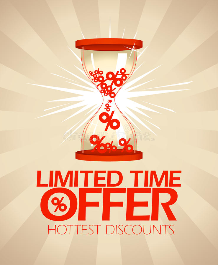 Limited time offer design with hourglass. royalty free illustration