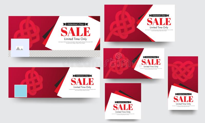 Limited time sale social media banner and poster set with creative heart shape. vector illustration