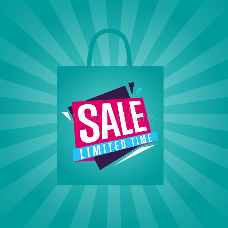Limited time sale sticker on package silhouette vector illustration